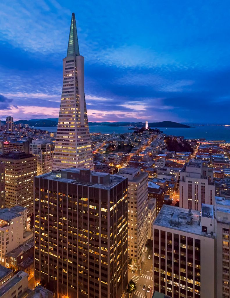 Twilight of 475 Sansome St. with the Transamerica building in background. Shot with UAV